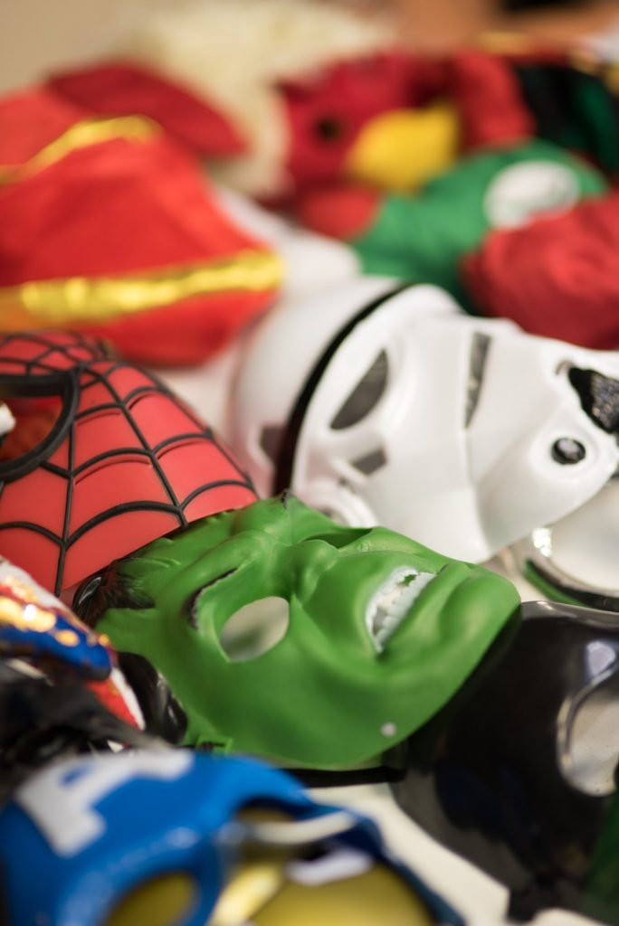 Hulk mask, Spiderman mask, super heroes