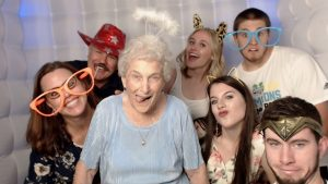 The LED photo booth is a big white photo booth, so you can fit your entire family inside!  The fact that it's an open photo booth allows traffic to run smoothly throughout the night so that you can take all the photo booth pictures you want.