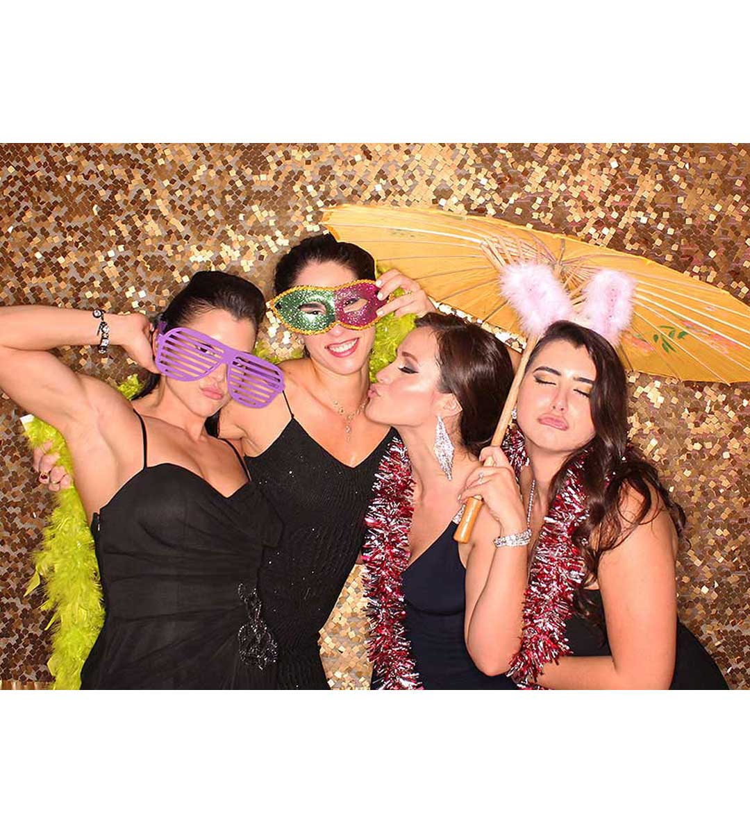 Add some shimmer and color to the photo booth background of every photo with our physical background options! These backdrops are perfect for any type of event or celebration! Pick from a large variety of streamer color and different textures to extend your style or event theme into every picture.
